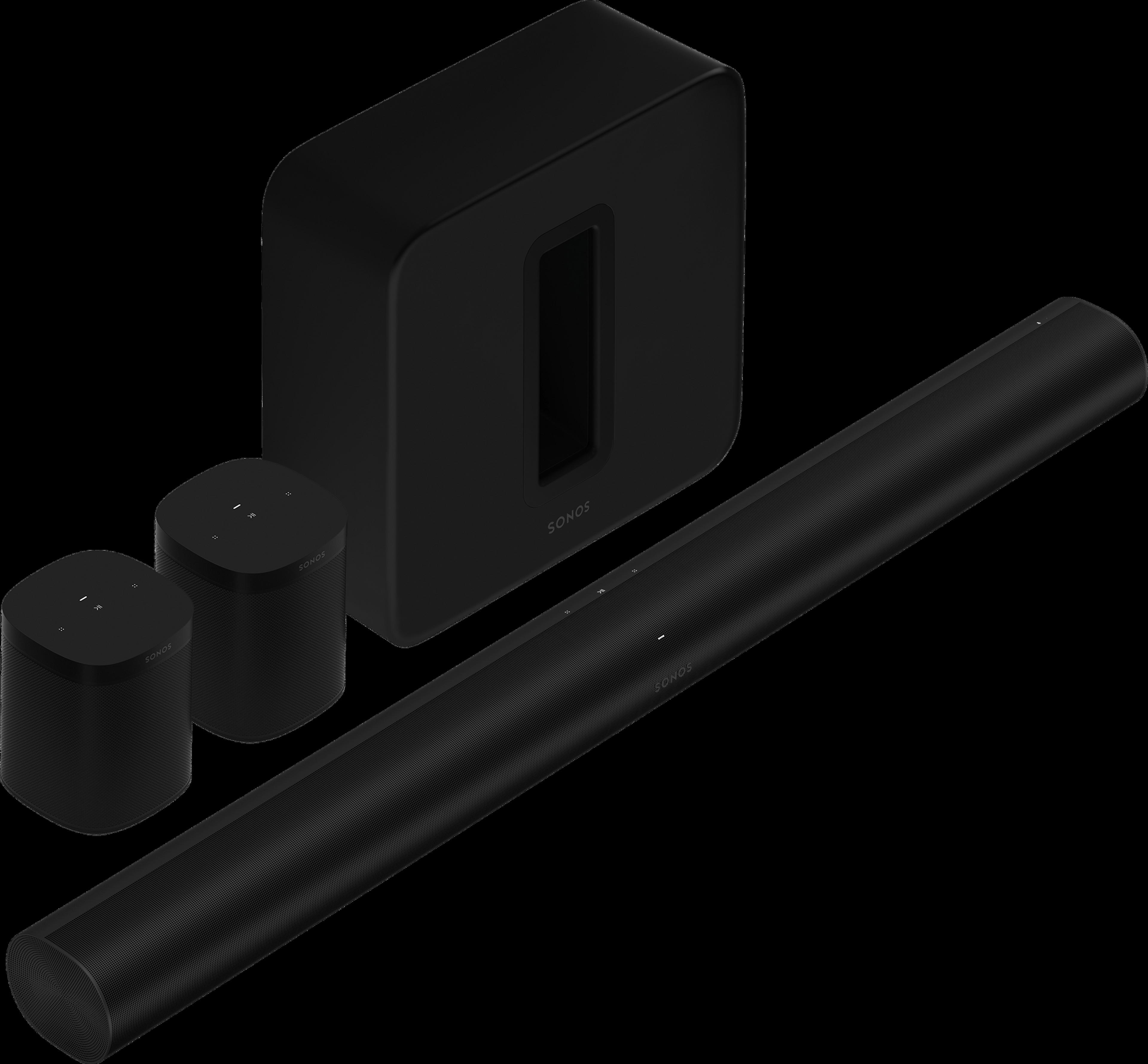 Arc avec un Sub et une paire de One SL noirs