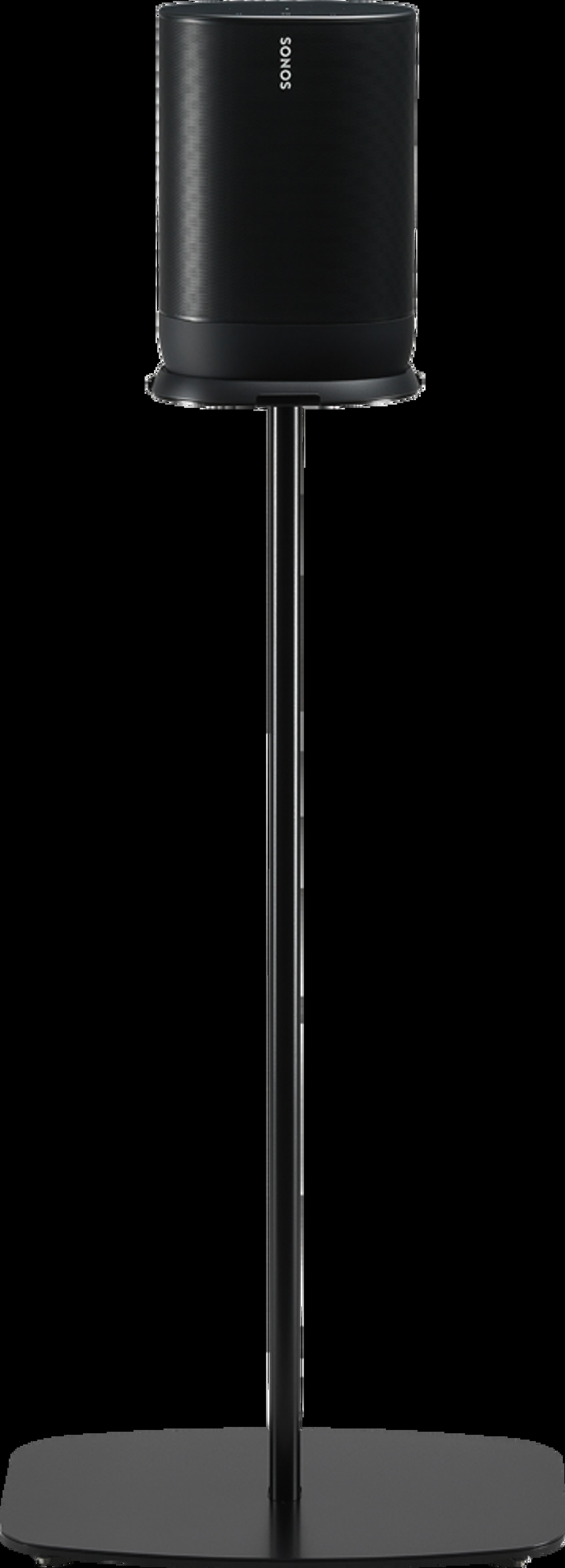 Vista frontale del supporto Flexson nero per Move